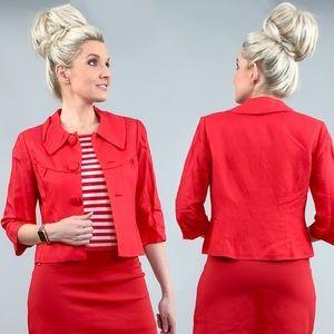Red Linen Summer Jacket Blazer with Striped Shirt